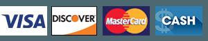 Visa, Discover, MasterCard, Cash