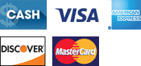 Cash, Visa, American Express, Discover, MasterCard