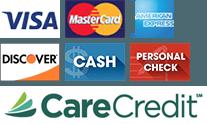 Visa Mastercard, American Express, Discover, Cash, Personal Check, Care Credit