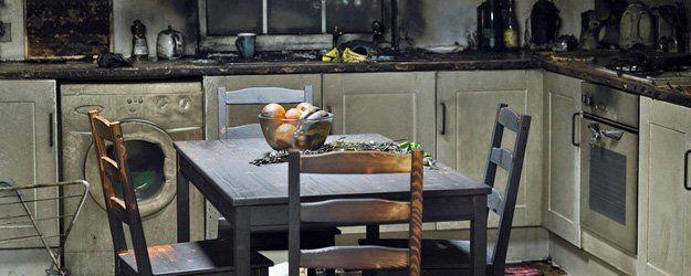 fire damaged - dining room