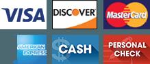 Visa, Discover, MasterCard, American Express, Cash, Credit Card