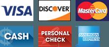 Visa, Discover, MasterCard, Cash, Personal Check, American Express