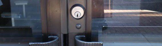 Lock on aluminum storefront door