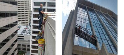 Views of a window cleaner on outside of building and window cleaners on scaffold