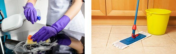 Close up views of cleaning a counter top and a mop & bucket