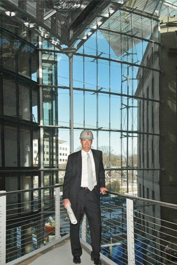 Businessman inside of office building