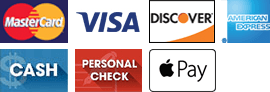 MasterCard, Visa, Discover, American Express, Cash, Personal Check, Apple Pay