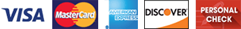 Visa | MasterCard | AmericanExpress | Discover | PersonalCheck