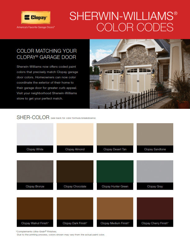 Sherwin Williams Paint Codes Access Garage Doors