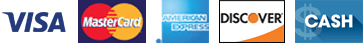 Visa | Mastercard | AmEx | Discover | Cash