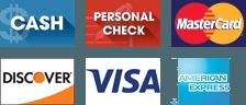 Cash, Personal Check, Discover, MasterCard, Visa, AmEx
