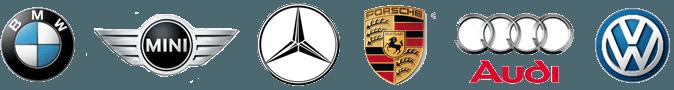 Car dealer logos: BMW, Mini, Mercedes, Porsche, and VW