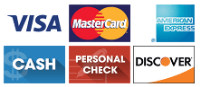 Visa, MasterCard, American Express, Cash, Personal Check, Discover