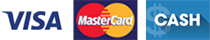 Visa, MasterCard, Cash