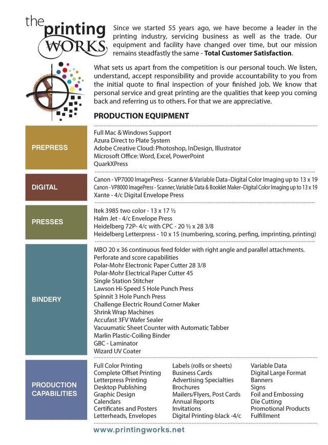 printing equipment list the printing works southampton pa