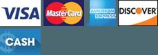 Visa | MasterCard | American Express | Discover | Cash