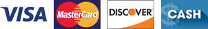 VISA, Mastercard, Discover, Cash