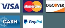 Visa | MasterCard | Discover | Cash | PayPal