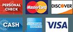 Personal check, mastercard, dicsover, cash, american express, visa