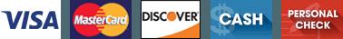 Visa, Mastercard, Discover, Cash, Check