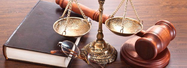 scale of justice, gavel and book