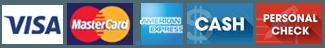 Visa | MasterCard | American Express | Cash | Personal Check