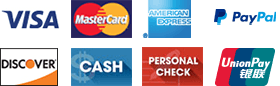 Visa, MasterCard, American Express, Discover, Cash, Personal Check, Paypal, Union Pay