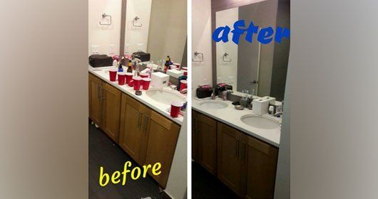 Before-After party cleaning