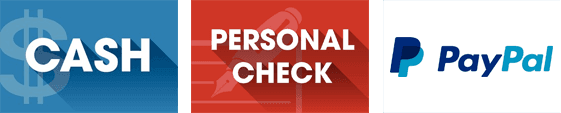 Cash, Personal Checks and PayPal logos