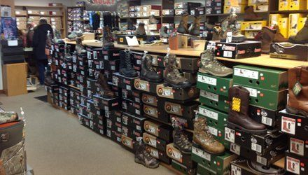 Work boots sale display