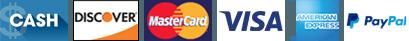 Visa, Mastercard, Discover, American Express, Cash, Pay Pal