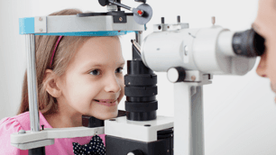Child having an eye checkup