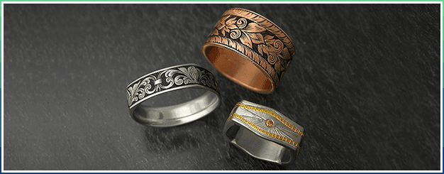 Hand engraved wedding bands