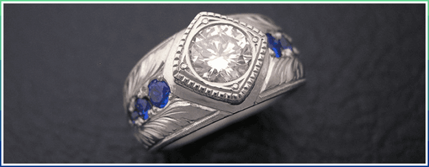 White gold with sapphires