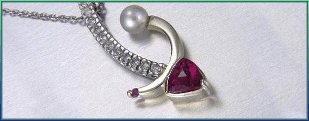 Rubellite tourmaline & pearl