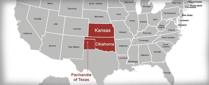 Kansas Feeds LLC Service Area Map