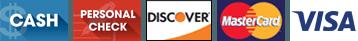 Cash | Personal Check | Discover | Mastercard | Visa