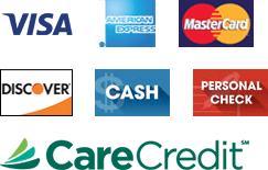 Visa, MasterCard, American Express, Discover, Cash, Personal Check and CareCredit