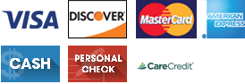 Visa, Discover, MasterCard, American Express, Cash, Personal Check, Care Credit