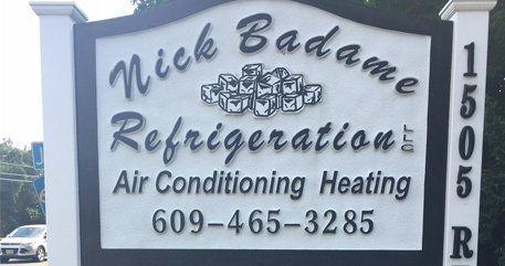 Nick Badame Refrigeration LLC's sign