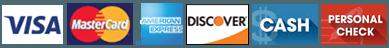 Visa | MasterCard | American Express | Discover | Cash | Personal Check