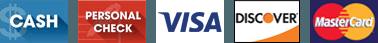 Visa, Discover, MasterCard, Cash, Personal Check
