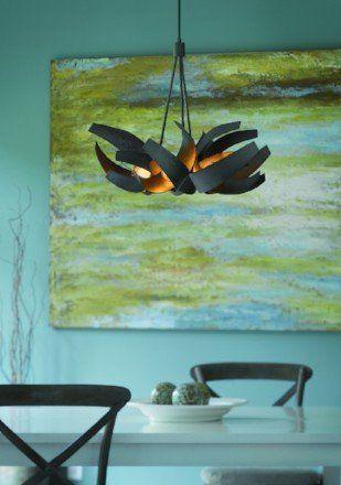 Modern light fixture in dining room