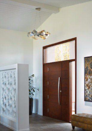 Modern light fixture near front door