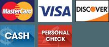 MasterCard, Visa, Discover, Cash, Personal Check