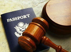 Passport and gavel