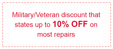 Military/Veteran Discount that states up to 10% OFF most repairs
