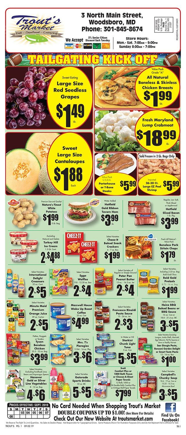 Trout's Seafood & Deli Market Special Offers   Woodsboro MD