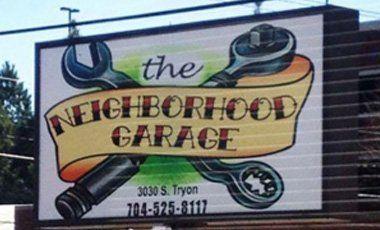 The Neighborhood garage sign board