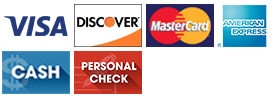 Methods of payment - Visa, MasterCard, Discover, American Express, Cash, Personal Check